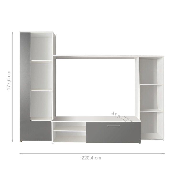Finlandek meuble tv mural cloud 220 cm blanc gris achat for Meuble mural 70 cm