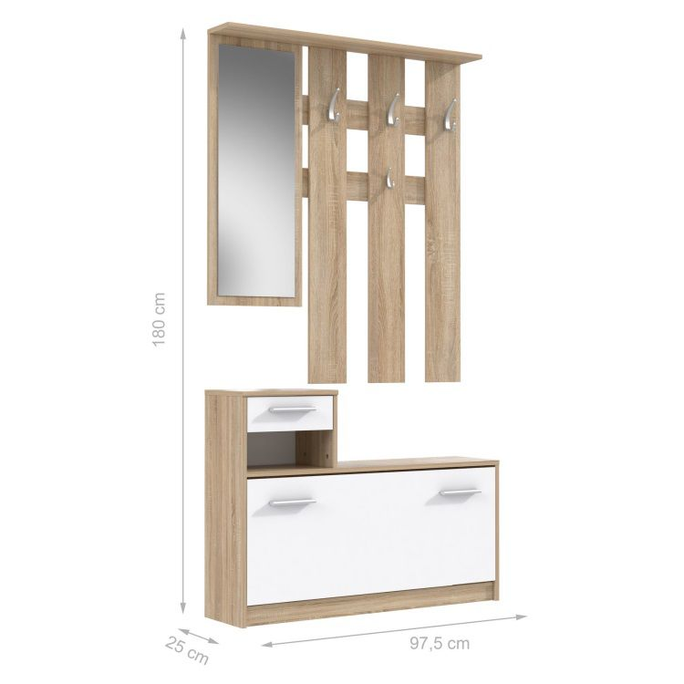 finlandek vestiaire d 39 entr e avec miroir peili scandinave d cor ch ne et blanc l 97 cm achat. Black Bedroom Furniture Sets. Home Design Ideas