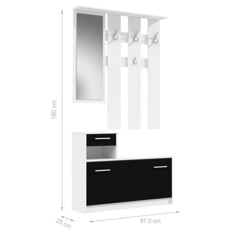 finlandek vestiaire d 39 entr e avec miroir peili scandinave blanc et noir l 97 cm achat. Black Bedroom Furniture Sets. Home Design Ideas