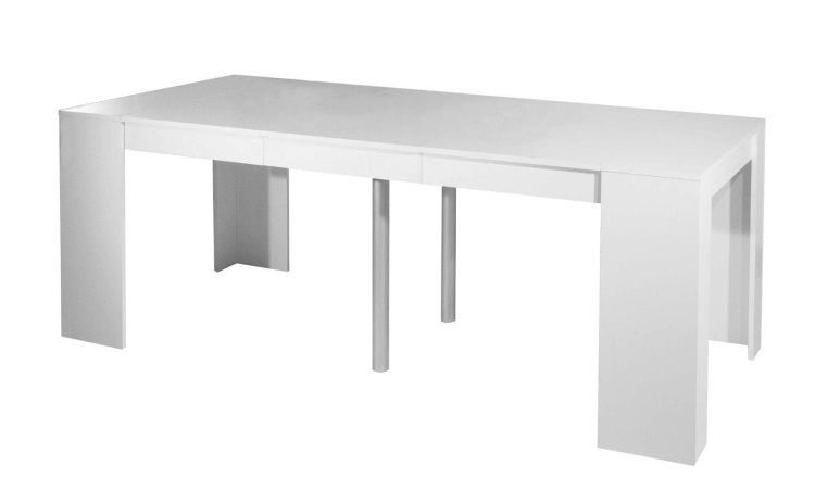 Mexx table console extensible 198cm blanc achat vente console extensible - Table console extensible pied central ...