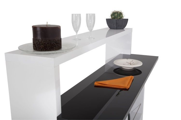 Vegas table bar 130 cm laqu blanc noir achat vente - Table de bar blanc laque ...
