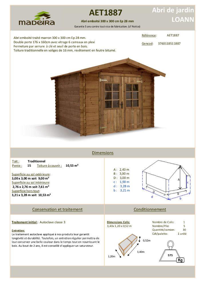 abri de jardin bois emboit trait marron 8 88m achat. Black Bedroom Furniture Sets. Home Design Ideas