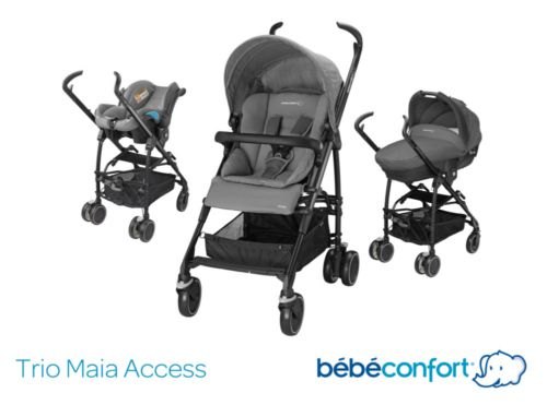bebe confort poussette combin e trio maia access gris. Black Bedroom Furniture Sets. Home Design Ideas