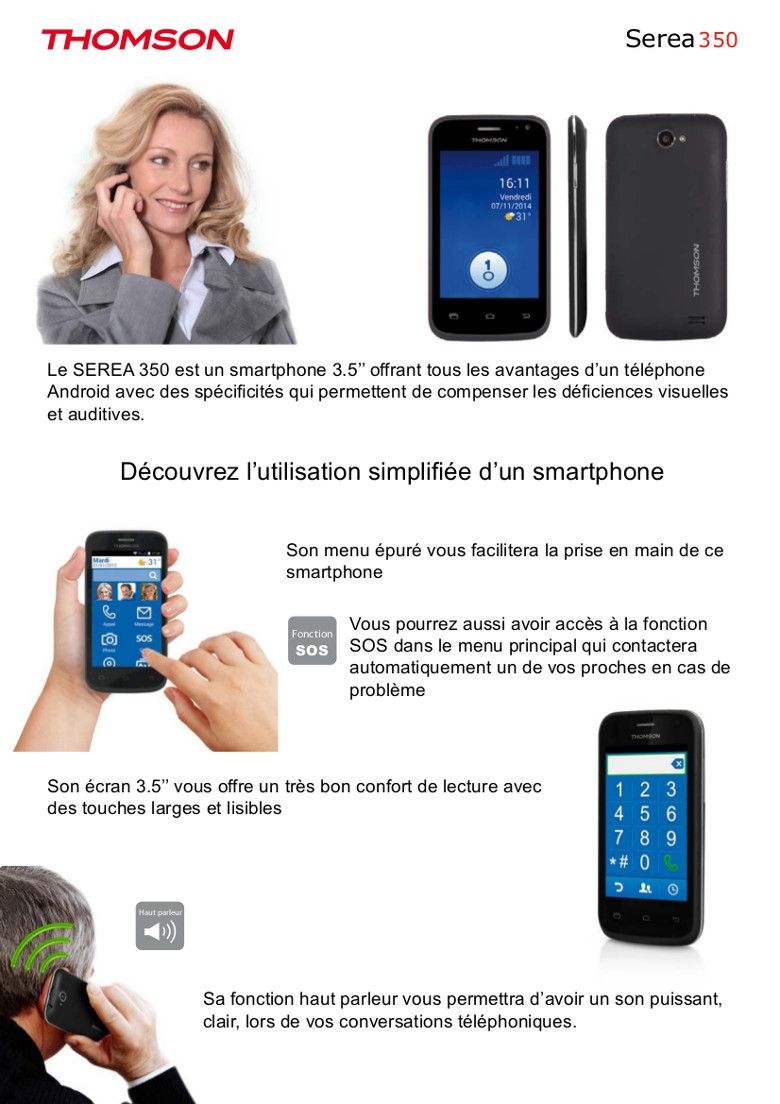 Serea 350 Téléphone Senior smartphone, prix pas cher