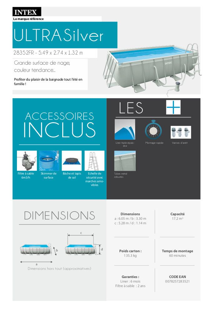 kit piscine tubulaire 5 49 x 2 74 x 1 32 m achat vente. Black Bedroom Furniture Sets. Home Design Ideas