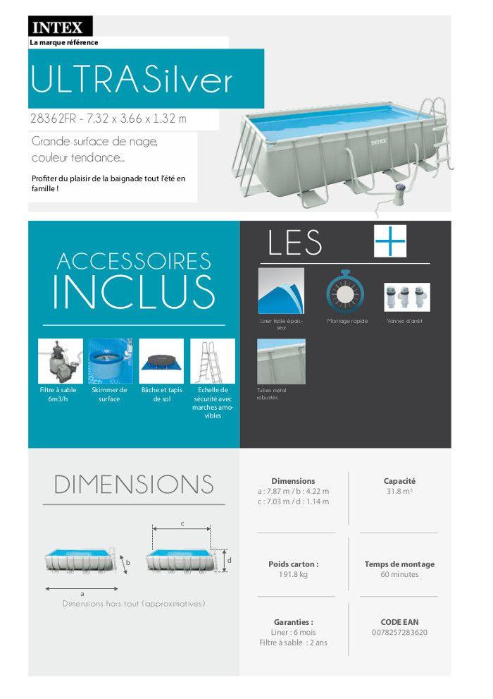 kit piscine tubulaire 7 32 x 3 66 x 1 32 m achat vente kit piscine kit piscine 7 32x3 66x1. Black Bedroom Furniture Sets. Home Design Ideas