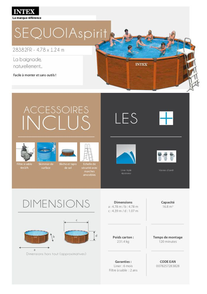 Intex Sequoia Spirit Piscine Ronde Aspect Bois  X  M  Achat