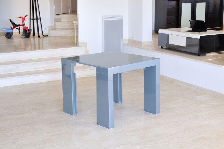 Zack table console extensible 250cm laqu e gris achat vente console exten - Console extensible gris laque ...