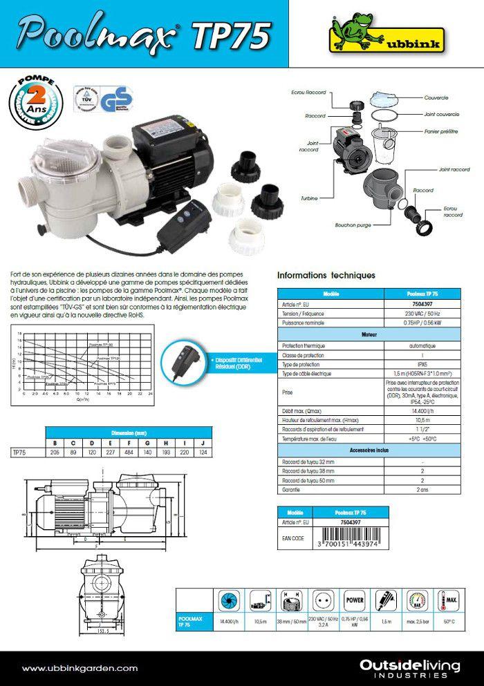 poolmax pompe piscine tp75 - 0 75cv   vente pompe