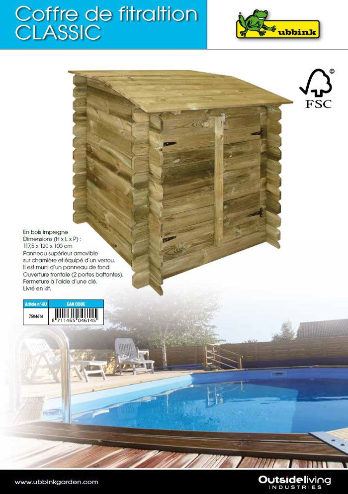 coffre de filtration en bois pour piscine achat vente local pour pompe coffre de filtration. Black Bedroom Furniture Sets. Home Design Ideas