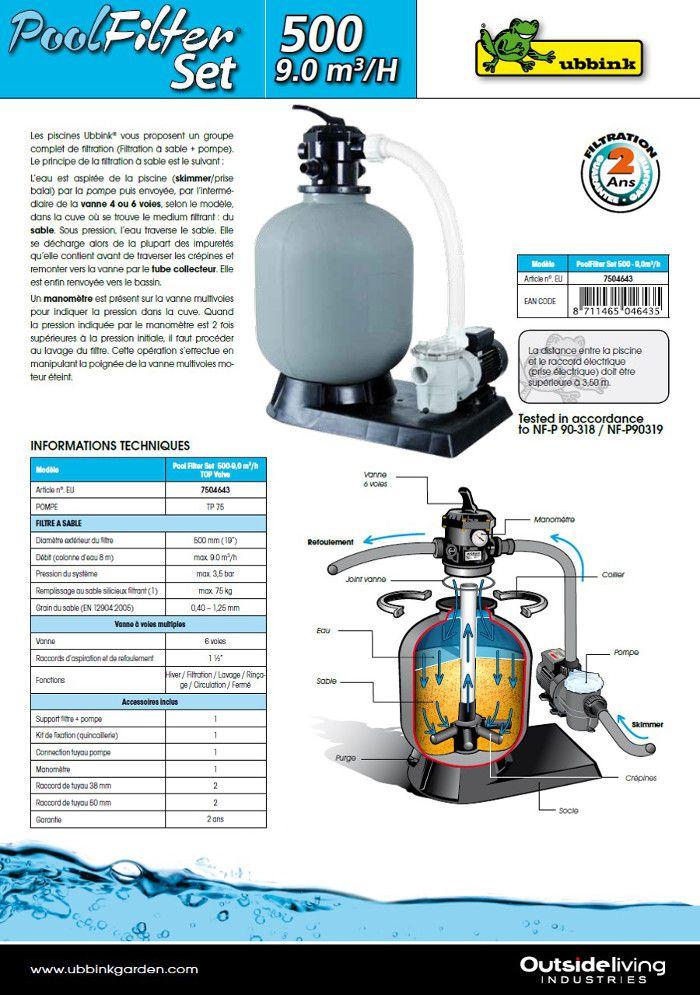 Kit de filtration sable pour piscine 9m3 h achat for Kit filtration piscine