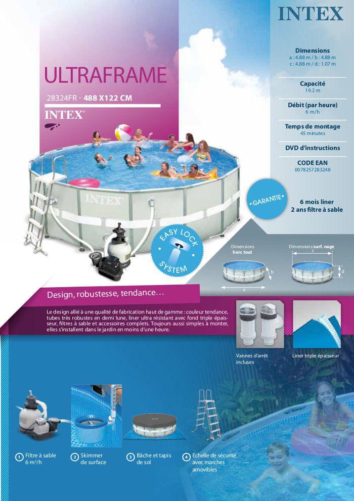 intex kit piscine tubulaire ronde ultra frame - 4,88x1,22m - achat