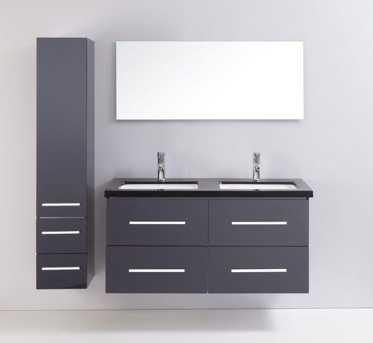 Mahe salle de bain compl te 120 cm noir brillant achat vente salle de bai - Cdiscount salle de bain complete ...