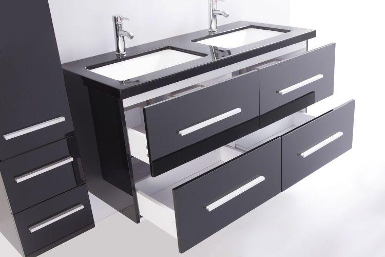 Mahe salle de bain compl te 120 cm noir brillant achat for Prix salle de bain complete