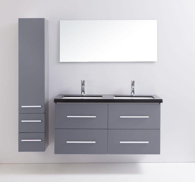 Mahe salle de bain compl te 120 cm gris brillant achat vente salle de bai - Tarif salle de bain complete ...