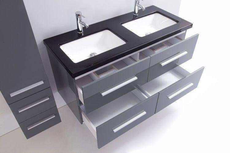 avis client mahe salle de bain complte 120 cm gris brillant - Tablette Salle De Bain 120 Cm
