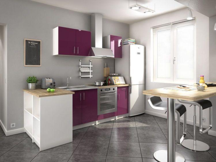 soul cuisine compl te 2m20 laqu aubergine haute. Black Bedroom Furniture Sets. Home Design Ideas