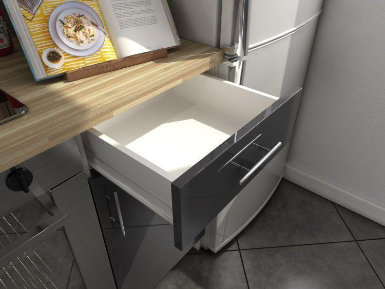 Soul cuisine compl te 220 cm laqu e grise achat vente for Cuisine grise laquee