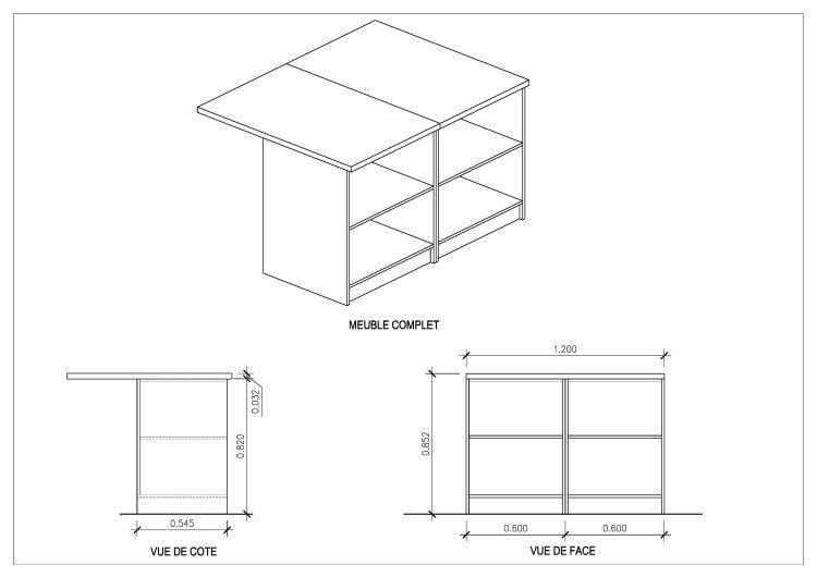 Smart ilot de cuisine l 120x100 cm avec plan de travail for Plan cuisine en l avec ilot