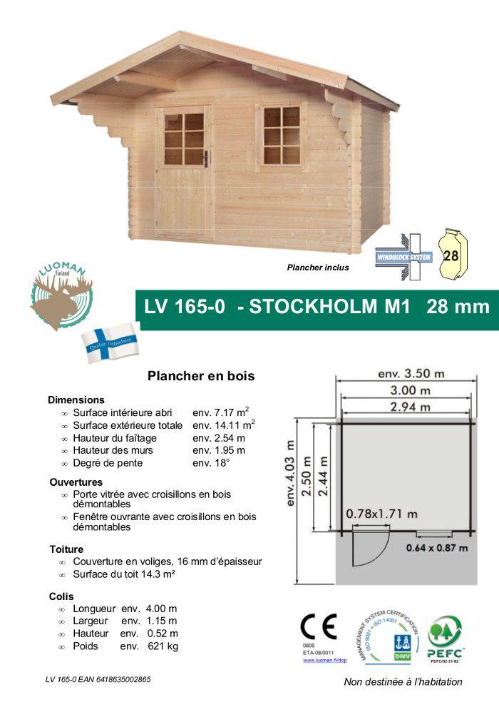 Stockholm m1 abri de jardin bois 7 17 m 28mm achat for Chalet de jardin en solde