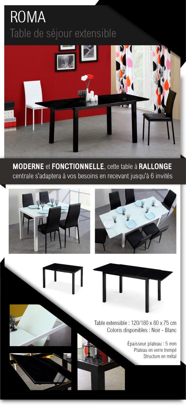 ROMA Table Extensible 4 à 6 Personnes 120-180x80 Cm