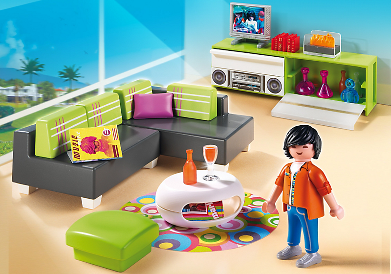 playmobil 5584 salon moderne achat vente univers miniature cdiscount. Black Bedroom Furniture Sets. Home Design Ideas