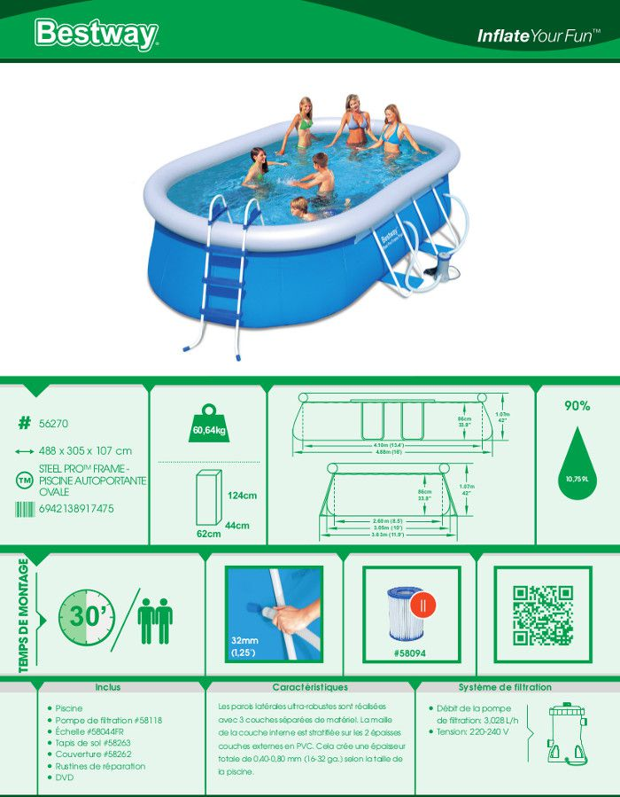 Bestway kit piscine autoportante ovale 4 88x3 05x1 07 m for Achat piscine autoportante