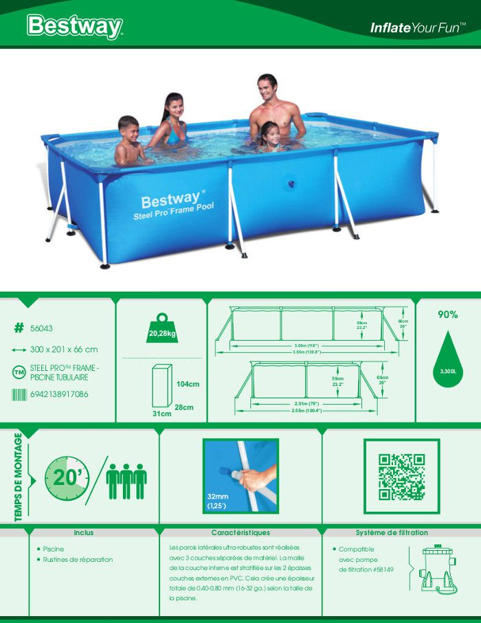 Bestway splash frame pool piscine rectangulaire tubulaire for Piscine 2x3