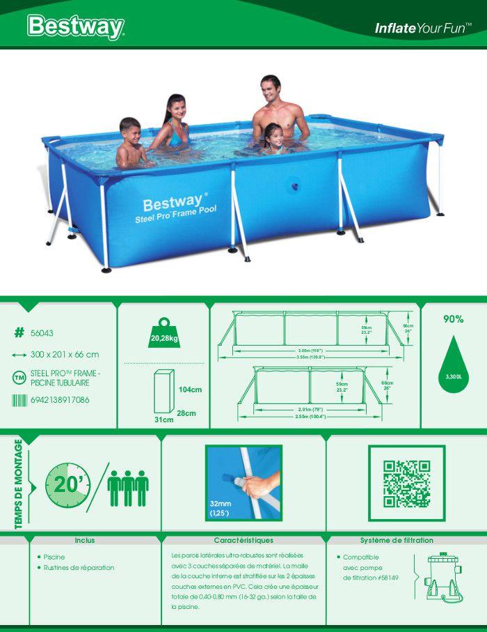 Bestway splash frame pool piscine rectangulaire tubulaire for Piscine rectangulaire 2x3
