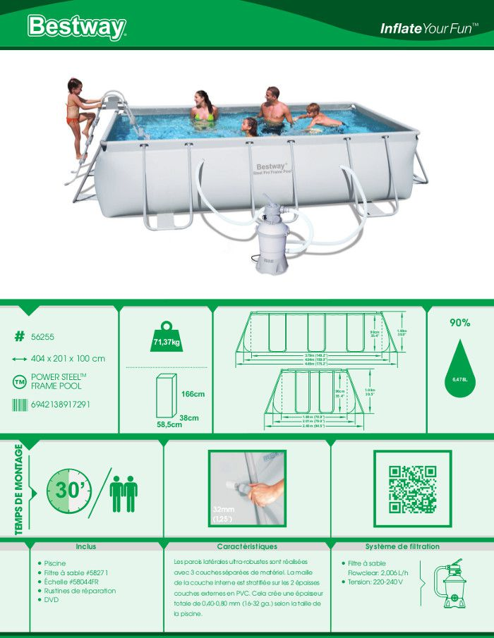 Bestway power steel frame piscine rectangulaire tubulaire for Achat piscine tubulaire rectangulaire