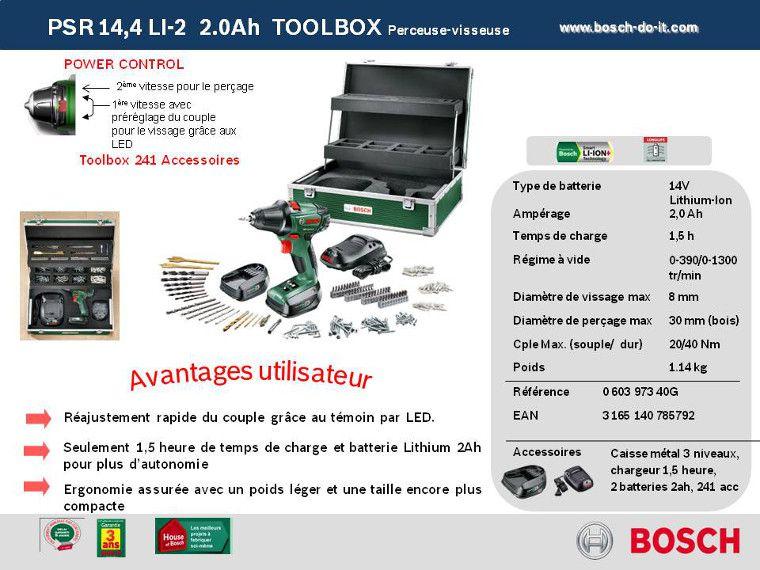 bosch perceuse visseuse sans fil psr14,4 li-2 + 2 batteries