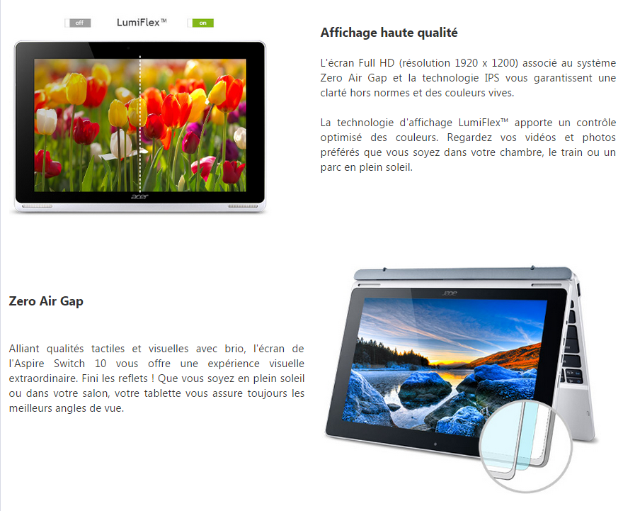 acer pc convertible tablette aspire switch 10 sw5 prix. Black Bedroom Furniture Sets. Home Design Ideas