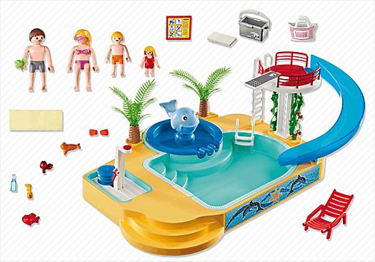 Playmobil 5433 famille avec piscine et plongeoir achat for Piscine avec terrasse playmobil
