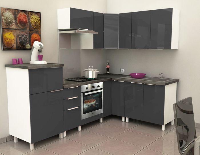 Meuble demi colonne cuisine caisson demi colonne gris - Meuble demi colonne cuisine ...