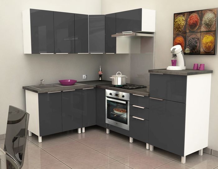 Caisson angle bas 80 cm gris haute brillance achat for Meuble de cuisine angle