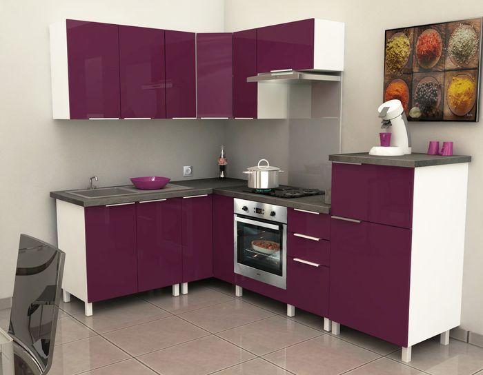 Meuble cuisine couleur aubergine epices meuble bas de for Cuisine couleur aubergine