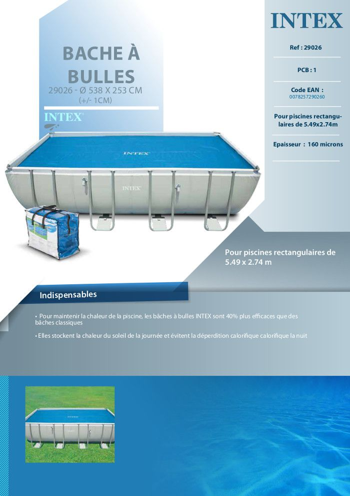 Intex b che bulles piscine tubulaire 5 49x2 74m achat for Bache piscine intex 5 49