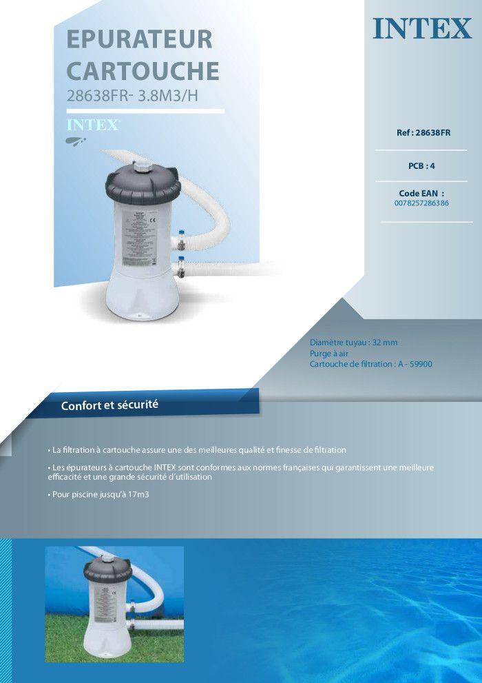 intex epurateur cartouche 3 8 m3 h pour piscine achat vente pompe filtration epurateur. Black Bedroom Furniture Sets. Home Design Ideas