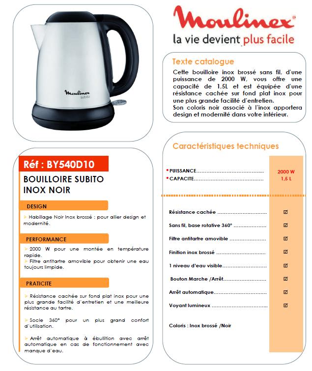 Moulinex By540D10 moulinex by540d10 bouilloire électrique subito - inox - achat