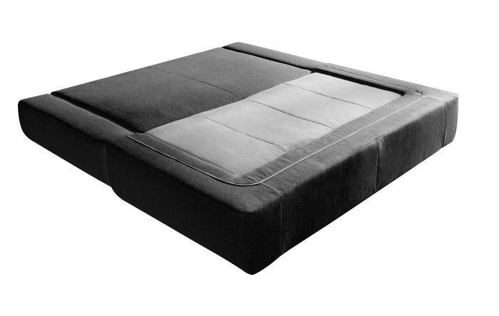 sweden canap convertible 3 places 2 grands poufs 204x105x88 cm tissu anthracite et gris. Black Bedroom Furniture Sets. Home Design Ideas