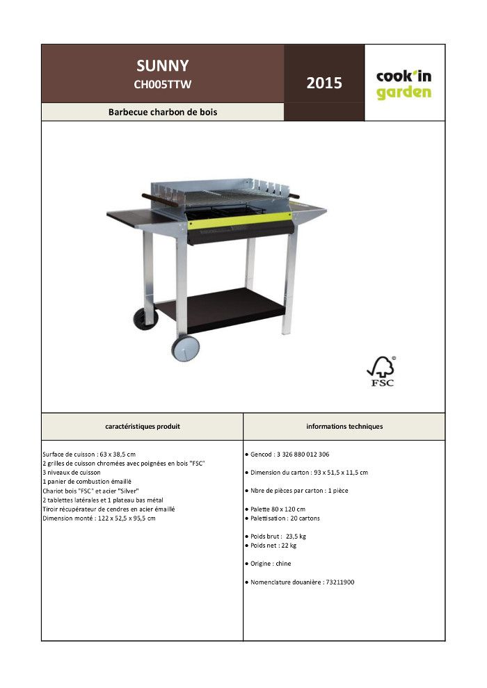 Sunny barbecue charbon 63 x 38 5 cm sur chariot for Quel barbecue charbon choisir