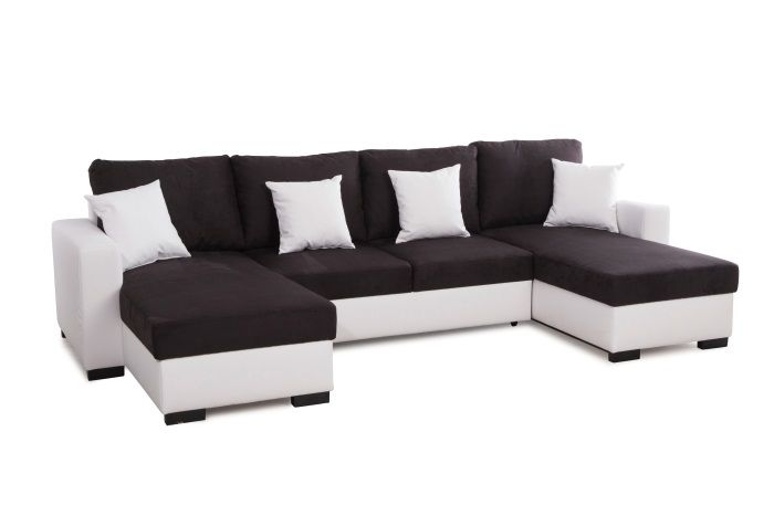 alma canap d 39 angle u convertible 5 places tissu noir et simili blanc contemporain l 305 x. Black Bedroom Furniture Sets. Home Design Ideas