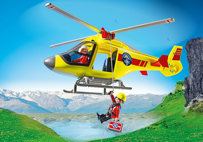Playmobil 5428 h licopt re de secours en montagne achat for Helicoptero playmobil