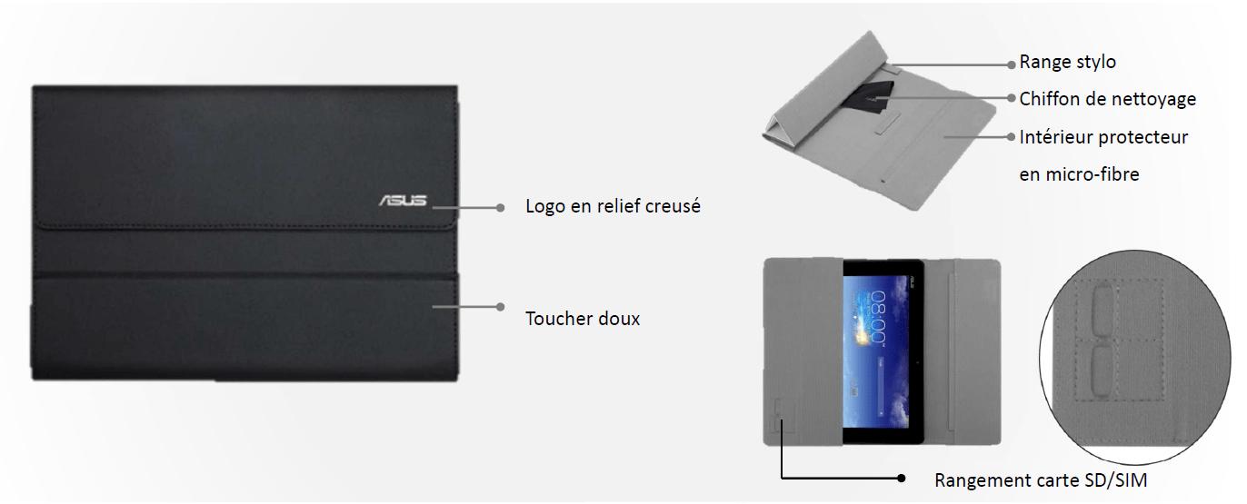 asus tui rabat pour tablette 10 1 noir prix pas cher. Black Bedroom Furniture Sets. Home Design Ideas
