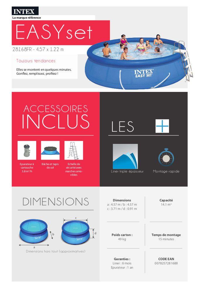 Easy set kit piscine 4 57 x 1 22 m achat vente piscine for Piscine hors sol 4 57 x 1 07 m easy set intex