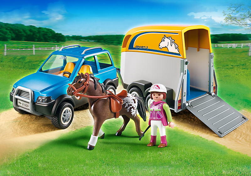 playmobil 5223 voiture avec remorque et cheval achat vente univers miniature cdiscount. Black Bedroom Furniture Sets. Home Design Ideas