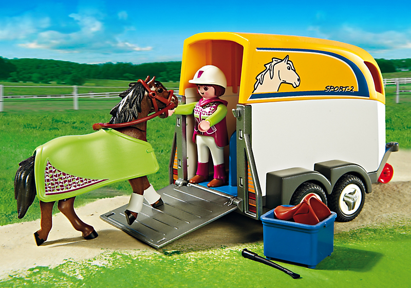playmobil 5223 voiture avec remorque et cheval achat. Black Bedroom Furniture Sets. Home Design Ideas