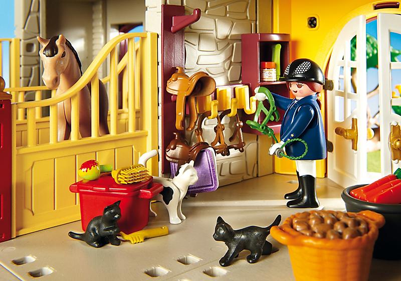 Playmobil 5221 haras avec chevaux et enclos 4008789052216 - Playmobil haras ...