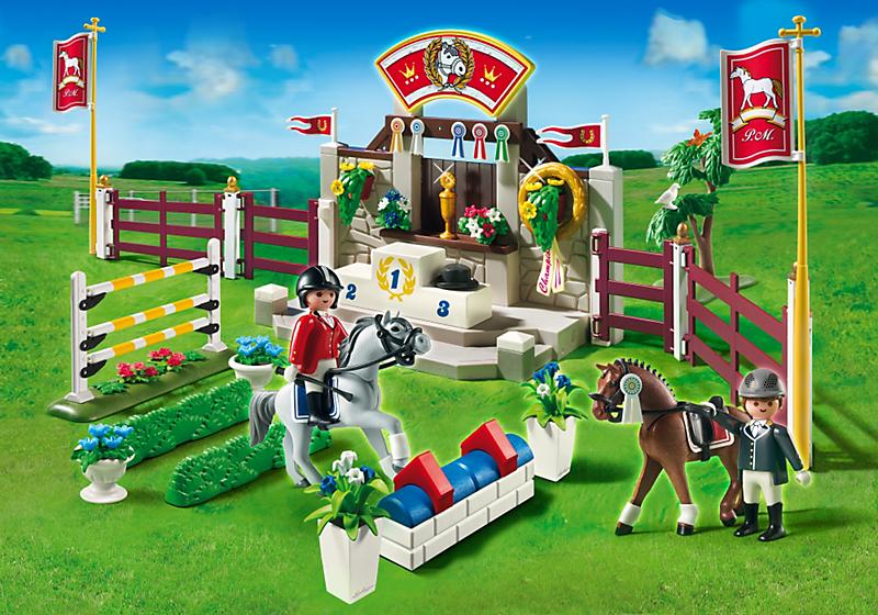 Playmobil 5224 piste d 39 obstacles hippiques achat vente - Playmobil haras ...