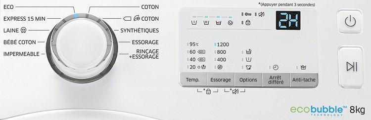 samsung ww80j3267kw lave linge frontal 8kg 1200. Black Bedroom Furniture Sets. Home Design Ideas